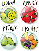 Different fruit sketch round vector buttons. — Stock Vector