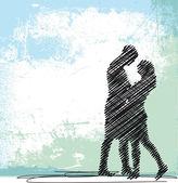 情侣接吻的抽象剪影。矢量插画 — 图库矢量图片