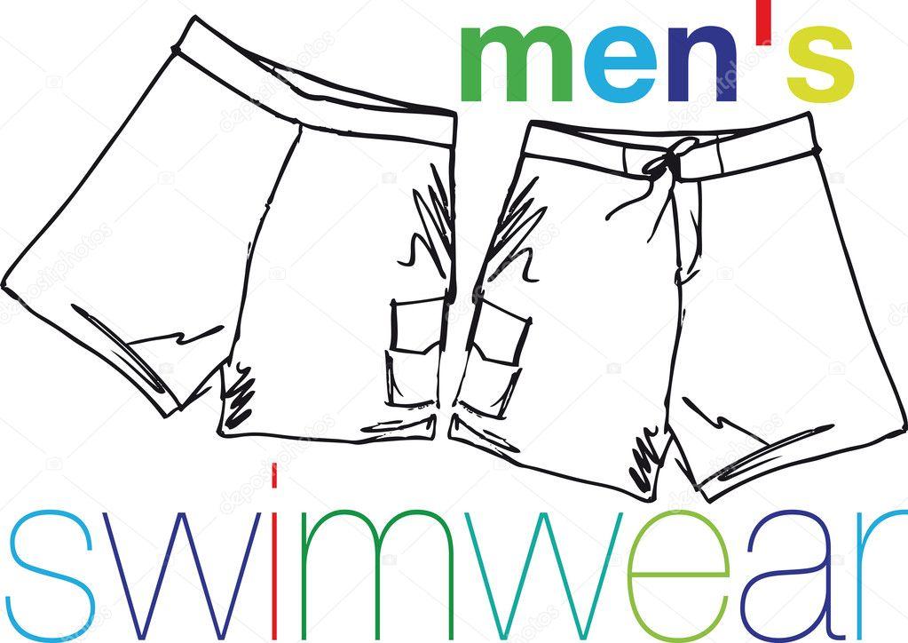 Imagenes Traje De Baño Para Hombres:Traje de baño para hombres ilustración vectorial — Vector stock