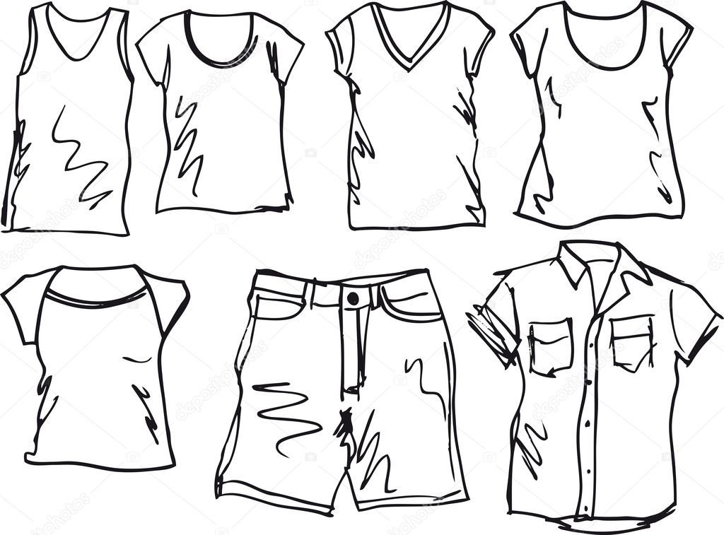 Stock Illustration Summer Clothing Sketch Collection Vector on dress shirts drawing