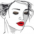 Sketch of beautiful woman face. Vector illustration - Stock Vector