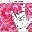 Sign language for I LOVE YOU with abstract hearts background. — Vektorgrafik