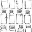 Sketch of colorful bottles. Vector illustration — Stock Vector