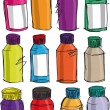 Sketch of colorful bottles. Vector illustration — Stock Vector #10500572