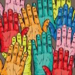 Sketch of volunteer group raising hands . Vector illustration — Stock Vector #10503736