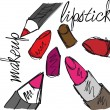 Sketch of Lipsticks and lipliners isolated on a white background — Stock Vector