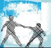 Boys holding hands. Vector illustration — Stock Vector