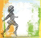 Sketch of running girl. Vector illustration — Stock Vector