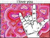Sign language for I LOVE YOU with abstract hearts background. — Stockvector
