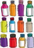 Sketch of colorful bottles. Vector illustration — Stock Vector