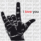 I love you hand symbolic gestures. Vector illustration — Stock Vector