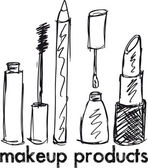 Sketch of Makeup products. Vector illustration — Stock Vector