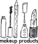 Kroki makyaj ürünleri. vektör çizim — Stok Vektör