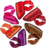 Sketch of lipsticks. Vector illustration — Stock Vector