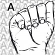 Royalty-Free Stock Vector Image: Sketch of Sign Language Hand Gestures, Letter A.