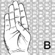 Royalty-Free Stock Vector Image: Sketch of Sign Language Hand Gestures, Letter B.