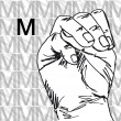 Stock Vector: Sketch of Sign Language Hand Gestures, Letter M.