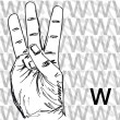 Stock Vector: Sketch of Sign Language Hand Gestures, Letter W.