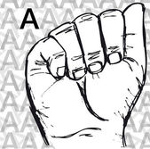 Sketch of Sign Language Hand Gestures, Letter A. — Stockvektor
