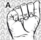 Skizzieren von gebärdensprache handgesten, buchstabe a. — Stockvektor