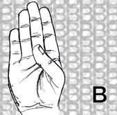 Sketch of Sign Language Hand Gestures, Letter B. — Stock Vector