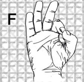 Sketch of Sign Language Hand Gestures, Letter F. — Stock Vector