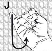 Sketch of Sign Language Hand Gestures, Letter J. — Stock Vector