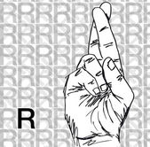 Sketch of Sign Language Hand Gestures, Letter R. — Stockvektor