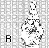 Skizze der gebärdensprache handgesten, buchstabe r. — Stockvektor