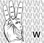 Esboço da língua de sinais, gestos de mão, letra w. — Vetor de Stock