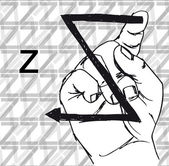 Sketch of Sign Language Hand Gestures, Letter z. — Stock Vector