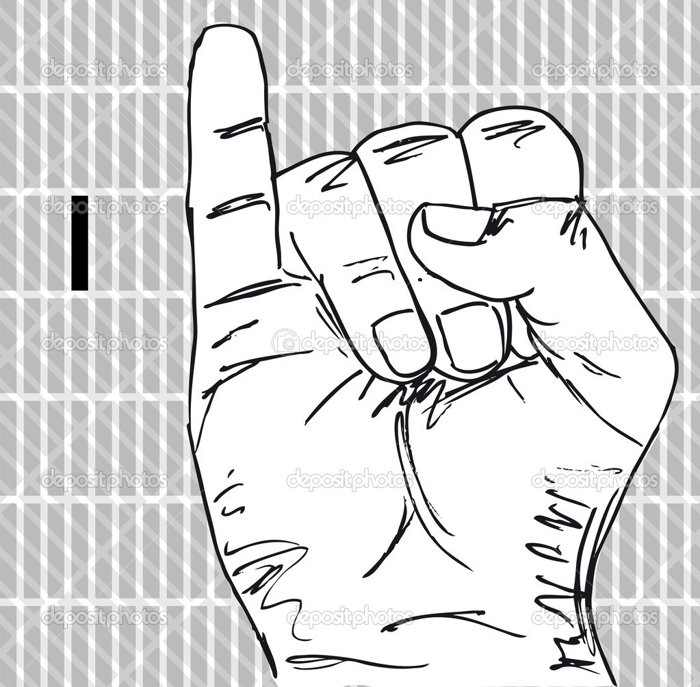 Sketch of Sign Language Hand Gestures, Letter I. Vector illustration  Stock Vector #10531812