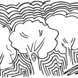 Abstract sketch of trees background. Vector illustration — Stock Vector