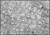 Esquisse du soleil et de nuages. illustration vectorielle — Vecteur