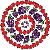 Apple & grapes. Vector illustration — Stock Vector