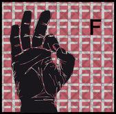 Sketch of Sign Language Hand Gestures, Letter F. Vector illustration — Stock Vector