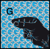 Sketch of Sign Language Hand Gestures, Letter G. Vector illustration — Stock Vector