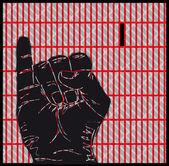 Sketch of Sign Language Hand Gestures, Letter I. Vector illustration — Stock Vector