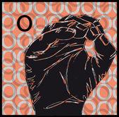 Sketch of Sign Language Hand Gestures, Letter O. Vector illustration — Stock Vector
