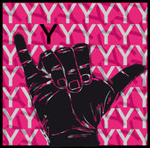 Sketch of Sign Language Hand Gestures, Letter Y. Vector illustration — Stock Vector