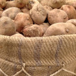 Peruvian potato on jute bag - Stock Photo