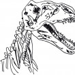 Sketch of Dinosaur fossil. Vector illustration - Stock Vector