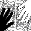 Sketch of hand on abstract background. vector illustration — Stock Vector #10645925