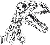 Sketch of Dinosaur fossil. Vector illustration — Stock Vector