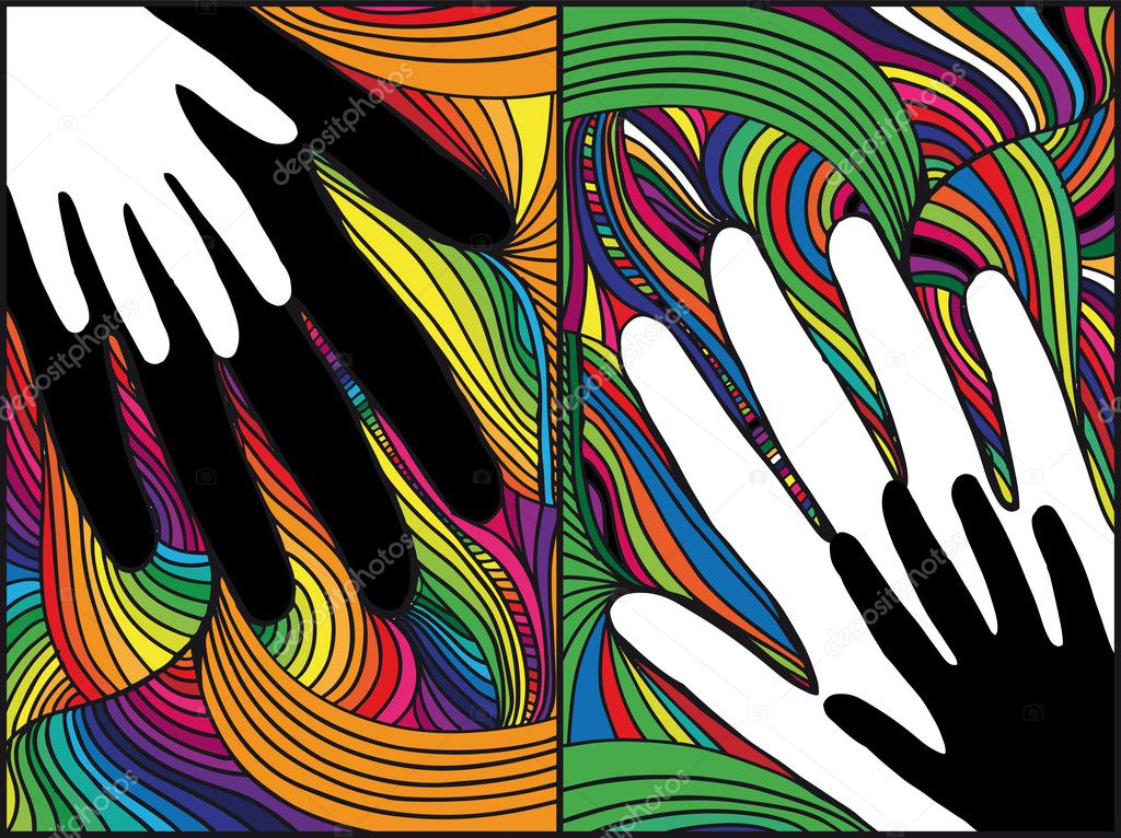Sketch of hand on abstract background. vector illustration — Stock Vector #10645946