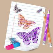 Färgpennor med fjärilar — Stockvektor