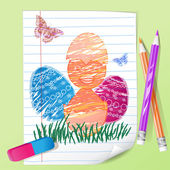 Drawing chicken easter eggs — Stockvector