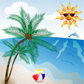 Beach with palm tree — Stock Vector