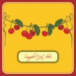 Greeting card with cherries — Stok Vektör