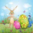Easter card with bunny — Stock Vector